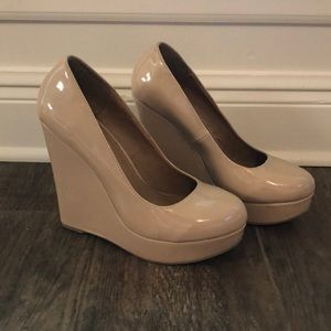 Patent Leather Nude Wedges
